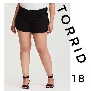 Torrid Black Denim Frayed Hem Shorts